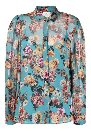 floral-print long-sleeved shirt