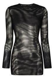 side split ring detail mesh dress