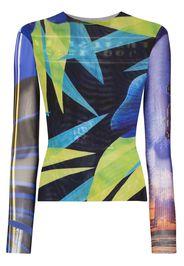 printed long sleeve mesh top