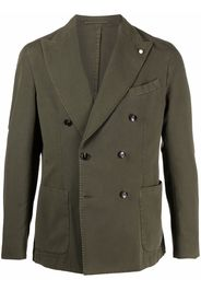 LUIGI BIANCHI MANTOVA double-breasted cotton blazer - Verde