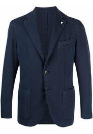 LUIGI BIANCHI MANTOVA single-breasted cotton blazer - Blu