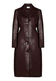 single-breasted faux leather trench coat