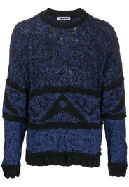 crew neck knitted symbols jumper