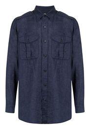 Man On The Boon. pocketed linen shirt - Blu