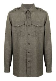 Man On The Boon. pocketed linen shirt - Verde