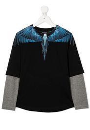 wing-print crew neck top