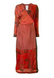 mixed-print surplice dress