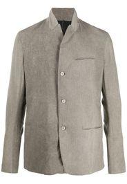 stand collar cotton linen blend blazer