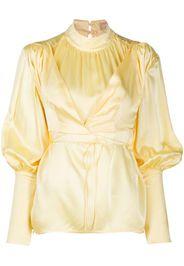 mock neck bell sleeve blouse