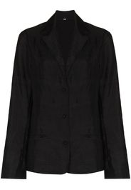 button-up organic silk blazer