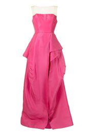 Monique Lhuillier illusion-neckline silk gown - Rosa
