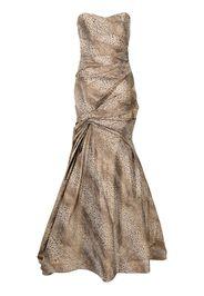 Monique Lhuillier sleeveless cheetah-print trumpet gown - Marrone