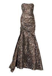 Monique Lhuillier cold-shoulder leopard print gown - Marrone