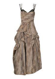 Monique Lhuillier cheetah-print draped gown - Marrone