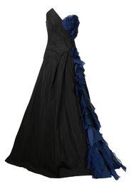 Monique Lhuillier strapless organza-trim gown - Blu