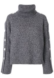 button-detail roll neck jumper
