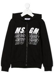 zipped logo print hoodie