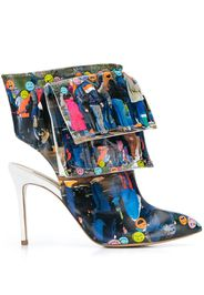 Printed Pocketed Ankle High Heel Boots Emoji Line
