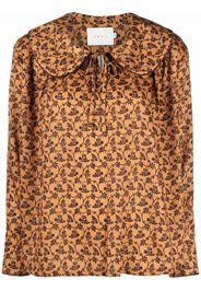 Neul botanical-print lace-up blouse - Arancione
