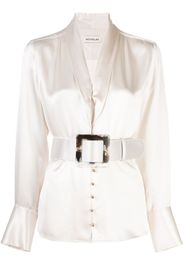 belted satin blouse