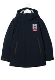 hooded logo patch raincoat