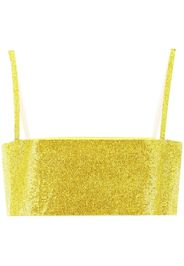 Nuè crystal-embellished cropped top - Giallo