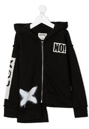 printed asymmetric hoodie