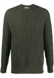 waffle-knit crew neck jumper