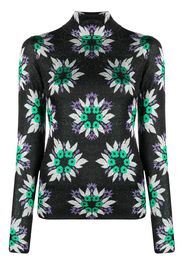 Paco Rabanne floral print glitter top - Verde