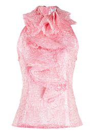 Palomo Spain ruffle-collar sleeveless blouse - Rosa