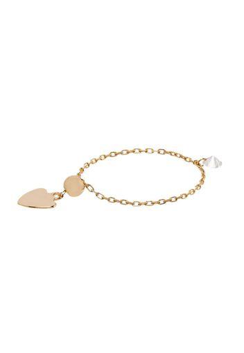 Anello a catena con ciondolo a cuore Danae in oro giallo 18kt e diamante