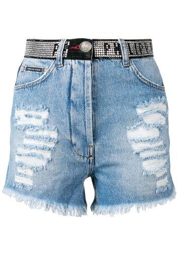 Shorts denim con Swarovski