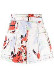 Philosophy Di Lorenzo Serafini abstract-print belted shorts - Bianco