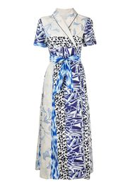 Pierre-Louis Mascia patchwork print wrap dress - Blu