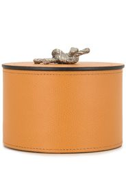 round leather storage box