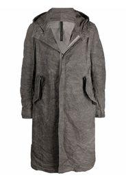 Poème Bohémien crinkled hooded coat - Grigio