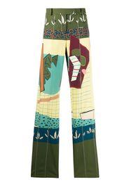Pantaloni taglio straight patchwork