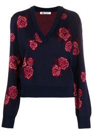rose-jacquard v-neck sweater