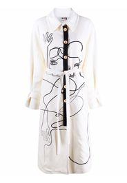 Ports 1961 face-print single-brested coat - Bianco