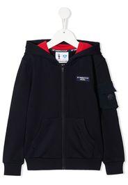 Prada Linea Rossa logo zipped hoodie - Blu