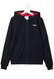Prada Linea Rossa TEEN logo zipped hoodie - Blu