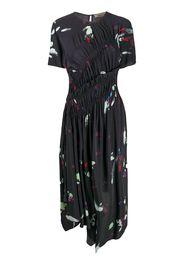 brush stroke pleated midi dress
