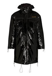 Hooded vinyl parka coat
