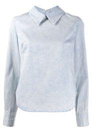 curved hem back buttoned shirt