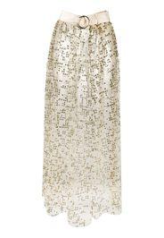 glitter embellished belted skirt