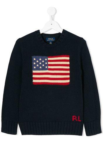 Maglione con motivo bandiera Usa