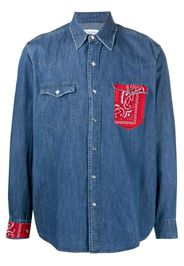 Re-Worked Camicia denim con pannelli a contrasto - Blu