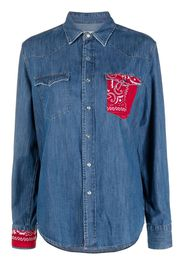 Re-Worked bandana pocket denim shirt - Blu