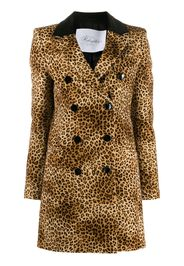 double breasted leopard-print coat