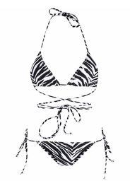 Reina Olga Miami zebra-print triangle bikini - Nero